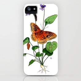 Spangled Fritillary and Violet iPhone Case