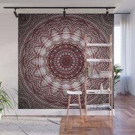 Wine And White Mandala Design Wall Mural
