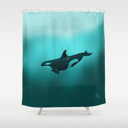 """Lost in Paradise"" by Amber Marine ~ Killer Whale ~ Orca ~ Original Version ~ (Copyright 2015) Shower Curtain"