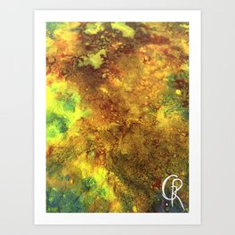 Primordial Original Abstract Painting, Mixed Media Canvas Contemporary Artwork, Close Up Photograph Art Print
