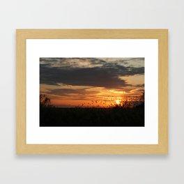 sunset and birds Framed Art Print