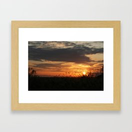 sunset and birds Framed Art Print