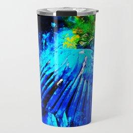 blue yellow breasted macaw parrot bird splatter watercolor Travel Mug