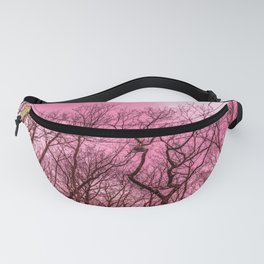 Naked trees, pink sky Fanny Pack