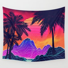 Neon glowing grid rocks and palm trees, futuristic landscape design Wall Tapestry