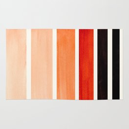 Burnt Sienna Minimalist Mid Century Modern Color Fields Ombre Watercolor Staggered Squares Rug