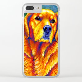 Colorful Golden Retriever Dog Portrait Clear iPhone Case