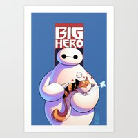 big hero 6 Art Prints featuring Baymax - Big Hero 6 by J Skipper