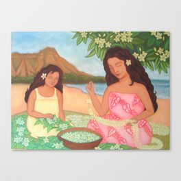 Mother & Daughter Making Leis Canvas Print