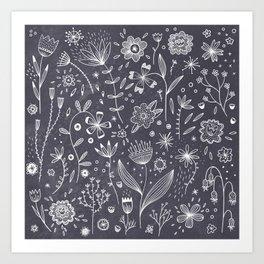 Chalkboard Flowers Art Print