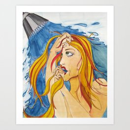 In the Shower Art Print