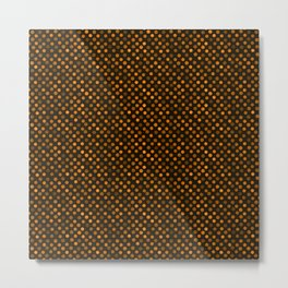 Retro Colored Dots Fabric Pumpkin Orange Metal Print
