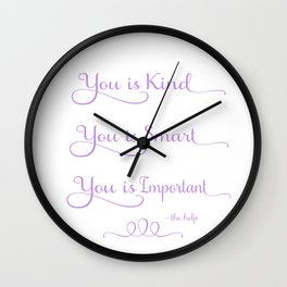 You is Kind - Purple Wall Clock