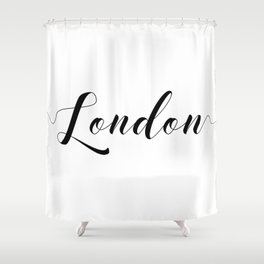 """ Travel Collection "" - London Typography Shower Curtain"