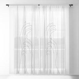 Minimal Line Art Feminine Hands Sheer Curtain