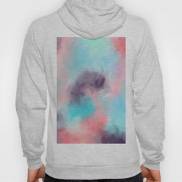 Abstract teal coral purple watercolor hand painted pattern Hoody