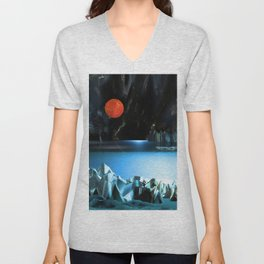3d Art Digital Art Cave Lake Unisex V-Neck