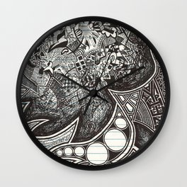 Red, Black, White, And Deja Wall Clock