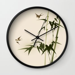 Oriental style bamboo branches 001 Wall Clock