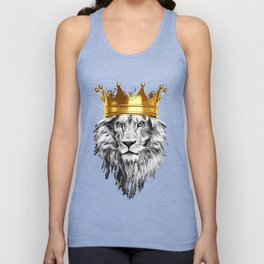 lion with a crown power king Unisex Tank Top