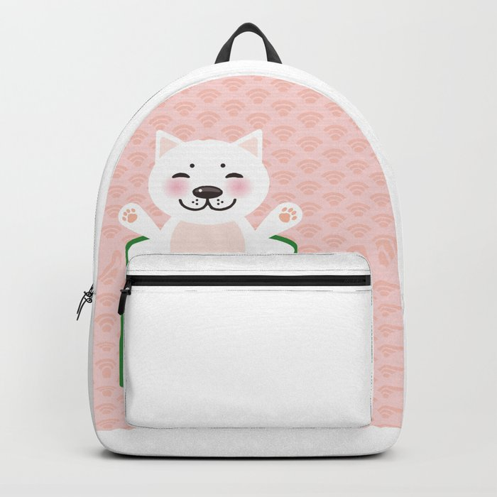 I love sushi. Kawaii funny sushi roll and white cute cat with pink cheeks, emoji. Pink background Backpack