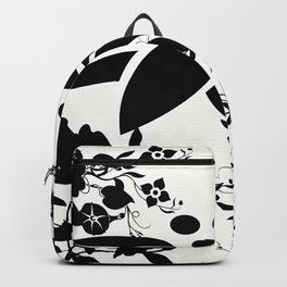 Damask Black and White Toile Floral Graphic Backpack