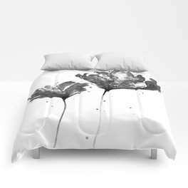 Flower 3, black and white Comforters