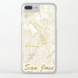 San Jose Map Gold Clear iPhone Case