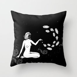 Space Goddess Putting Spells on the Stars Throw Pillow