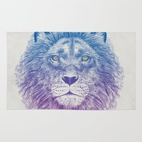 soul Area & Throw Rugs featuring Face of a Lion by Rachel Caldwell
