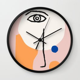 Abstract Art, Line Portrait, Matisse Picasso Style, Neutral Red Abstract Print, Line Drawing, Line D Wall Clock
