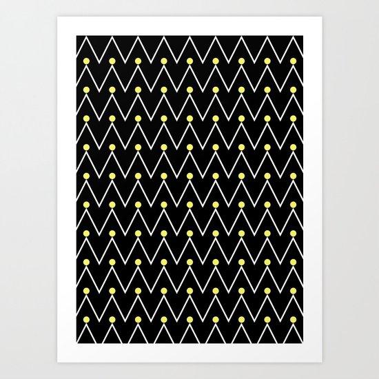 Chevron and dots 3 Art Print