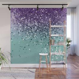 Purple Teal Mermaid Ocean Glitter #1 (Faux Glitter) #shiny #decor #art #society6 Wall Mural