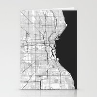 milwaukee Stationery Cards featuring Milwaukee Map Gray by City Art Posters