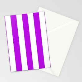 Vivid mulberry violet - solid color - white vertical lines pattern Stationery Cards