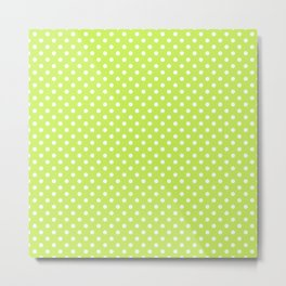 Bright green background with polka dot Metal Print
