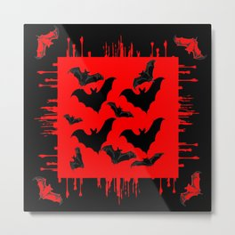 RED HALLOWEEN BATS ON BLEEDING RED ART DESIGN Metal Print