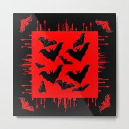 RED HALLOWEEN BATS ON BLEEDING RED ART DESIGN Metal Print