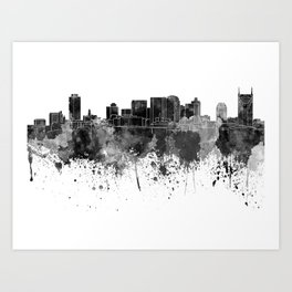 Nashville skyline in black watercolor Art Print