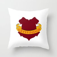 gryffindor Throw Pillows featuring Gryffindor by konchoo