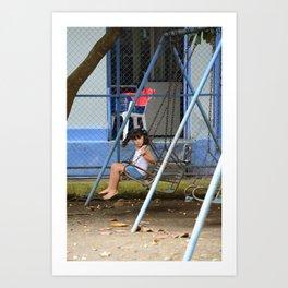 Swinging Barefoot Art Print