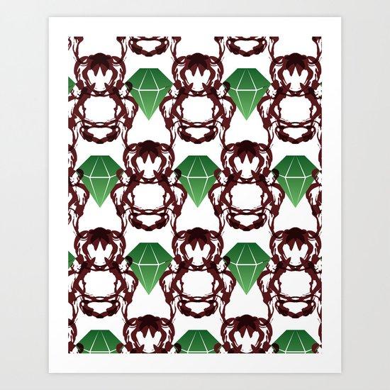Emeralds & Demons [WHITE] Art Print