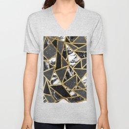 Modern Faux Gold Glitter Marble Geometric Triangle Unisex V-Neck