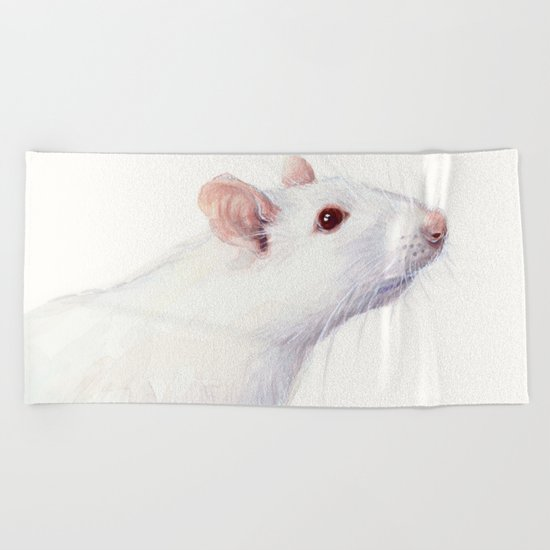 White Rat Watercolor Albino Rat Animal Beach Towel