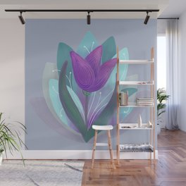 Tulip and Lotus Blossom Wall Mural