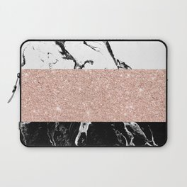 Modern black white marble rose gold color block stripes pattern Laptop Sleeve