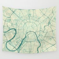 moscow Wall Tapestries featuring Moscow Map Blue Vintage by City Art Posters