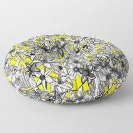 Grey Daffodils Floor Pillow