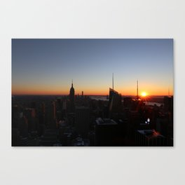 Downtown New York City Skyscrapers during Sunset in Winter Canvas Print