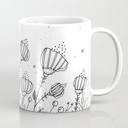 Doodle Flowers Illustration Coffee Mug